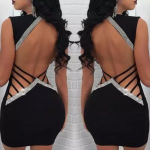 Sexy Black Backless Party Cocktail Club Mini Dress